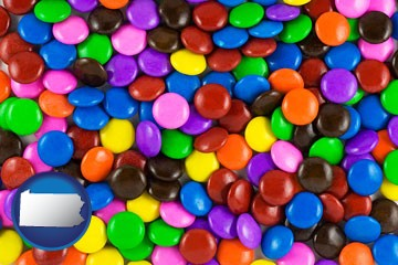 colorful candies - with Pennsylvania icon