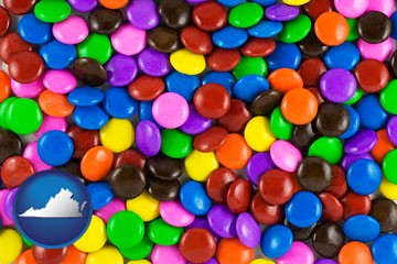 colorful candies - with Virginia icon