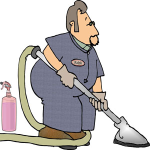 a carpet cleaner using carpet cleaning equipment and supplies