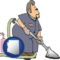 arizona map icon and a carpet cleaner using carpet cleaning products