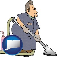 connecticut map icon and a carpet cleaner using carpet cleaning products