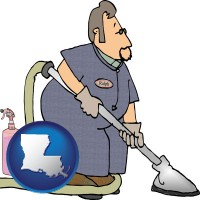 louisiana map icon and a carpet cleaner using carpet cleaning products