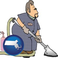 massachusetts map icon and a carpet cleaner using carpet cleaning products