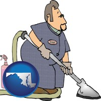 maryland map icon and a carpet cleaner using carpet cleaning products