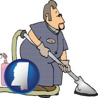 mississippi map icon and a carpet cleaner using carpet cleaning products