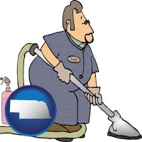 nebraska map icon and a carpet cleaner using carpet cleaning products