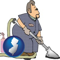 new-jersey map icon and a carpet cleaner using carpet cleaning products