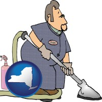 new-york map icon and a carpet cleaner using carpet cleaning products