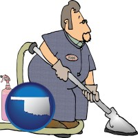 oklahoma map icon and a carpet cleaner using carpet cleaning products
