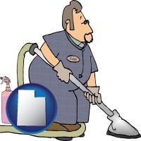 utah map icon and a carpet cleaner using carpet cleaning products