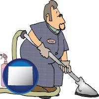 wyoming map icon and a carpet cleaner using carpet cleaning products