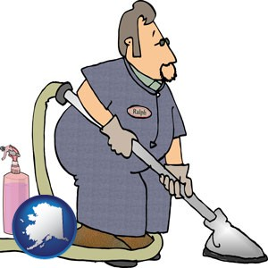 a carpet cleaner using carpet cleaning products - with Alaska icon