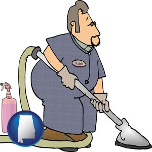 a carpet cleaner using carpet cleaning equipment and supplies - with Alabama icon