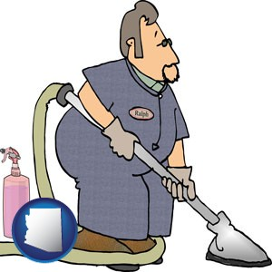 a carpet cleaner using carpet cleaning equipment and supplies - with Arizona icon