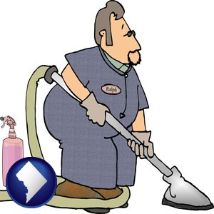 a carpet cleaner using carpet cleaning equipment and supplies - with Washington, DC icon
