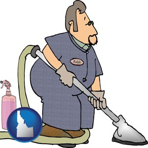 a carpet cleaner using carpet cleaning products - with Idaho icon