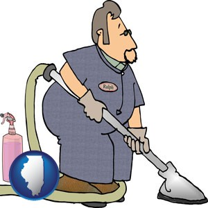 a carpet cleaner using carpet cleaning equipment and supplies - with Illinois icon