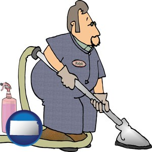 a carpet cleaner using carpet cleaning products - with Kansas icon