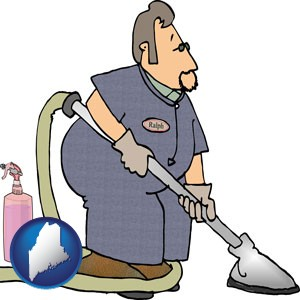 a carpet cleaner using carpet cleaning equipment and supplies - with Maine icon
