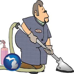 a carpet cleaner using carpet cleaning equipment and supplies - with Michigan icon