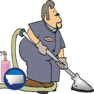 a carpet cleaner using carpet cleaning equipment and supplies - with Montana icon