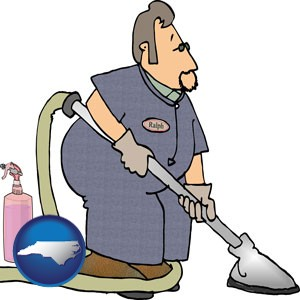 a carpet cleaner using carpet cleaning equipment and supplies - with North Carolina icon
