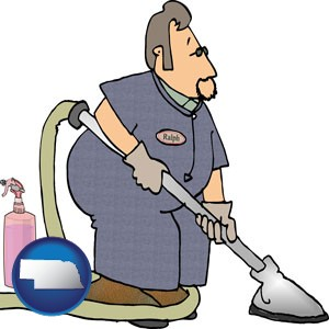 a carpet cleaner using carpet cleaning products - with Nebraska icon