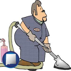 a carpet cleaner using carpet cleaning products - with New Mexico icon