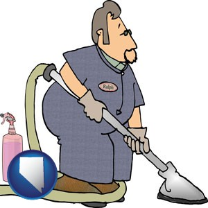 a carpet cleaner using carpet cleaning equipment and supplies - with Nevada icon