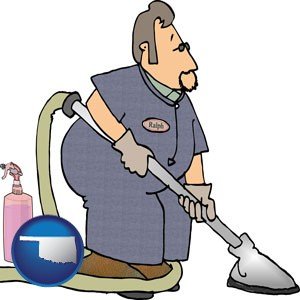 a carpet cleaner using carpet cleaning equipment and supplies - with Oklahoma icon