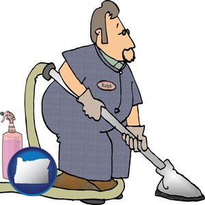 a carpet cleaner using carpet cleaning equipment and supplies - with Oregon icon