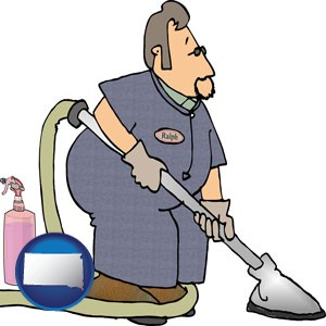 a carpet cleaner using carpet cleaning equipment and supplies - with South Dakota icon