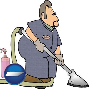 a carpet cleaner using carpet cleaning equipment and supplies - with Tennessee icon