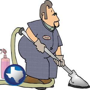 a carpet cleaner using carpet cleaning products - with Texas icon