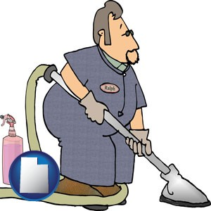 a carpet cleaner using carpet cleaning products - with Utah icon