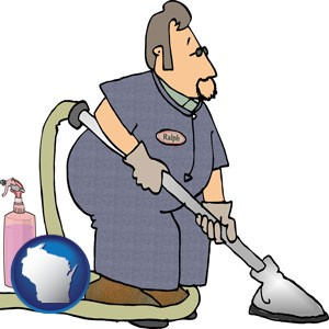 a carpet cleaner using carpet cleaning equipment and supplies - with Wisconsin icon