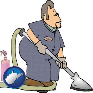 a carpet cleaner using carpet cleaning products - with West Virginia icon