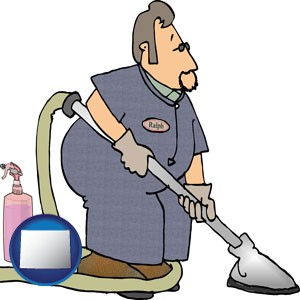 a carpet cleaner using carpet cleaning equipment and supplies - with Wyoming icon