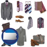 pennsylvania map icon and men's clothing and accessories