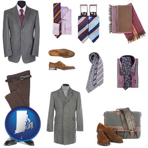 men's clothing and accessories - with Rhode Island icon