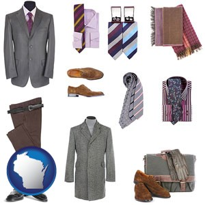 men's clothing and accessories - with Wisconsin icon