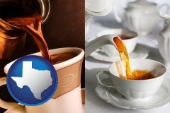 texas pouring coffee and pouring tea