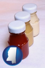 mississippi ketchup, mustard, and mayonnaise condiments