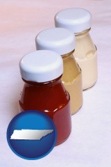 tennessee ketchup, mustard, and mayonnaise condiments