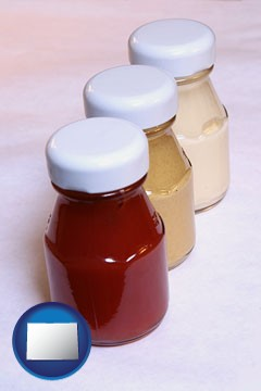 ketchup, mustard, and mayonnaise condiments - with Colorado icon