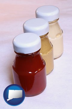 ketchup, mustard, and mayonnaise condiments - with Connecticut icon