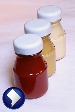 ketchup, mustard, and mayonnaise condiments - with Washington, DC icon