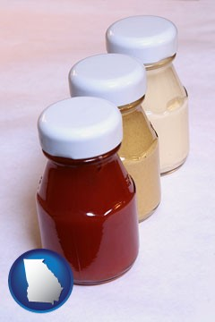 ketchup, mustard, and mayonnaise condiments - with Georgia icon