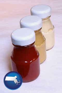 ketchup, mustard, and mayonnaise condiments - with Massachusetts icon