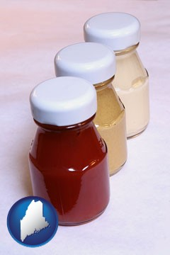ketchup, mustard, and mayonnaise condiments - with Maine icon